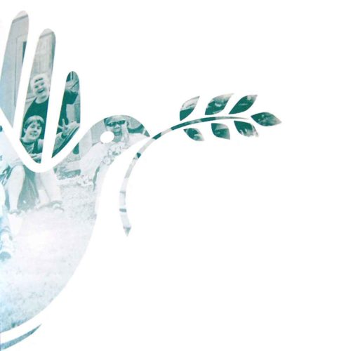 Image of Building Peace Together logo used hands to form a dove